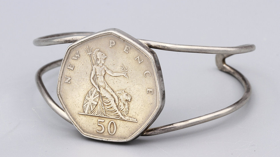 Great Britain Coin Cuff Bracelet