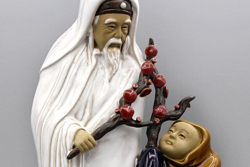 Old Man And Child Shouxing Stellar God Wanjiang Chinese Mudman Figurine