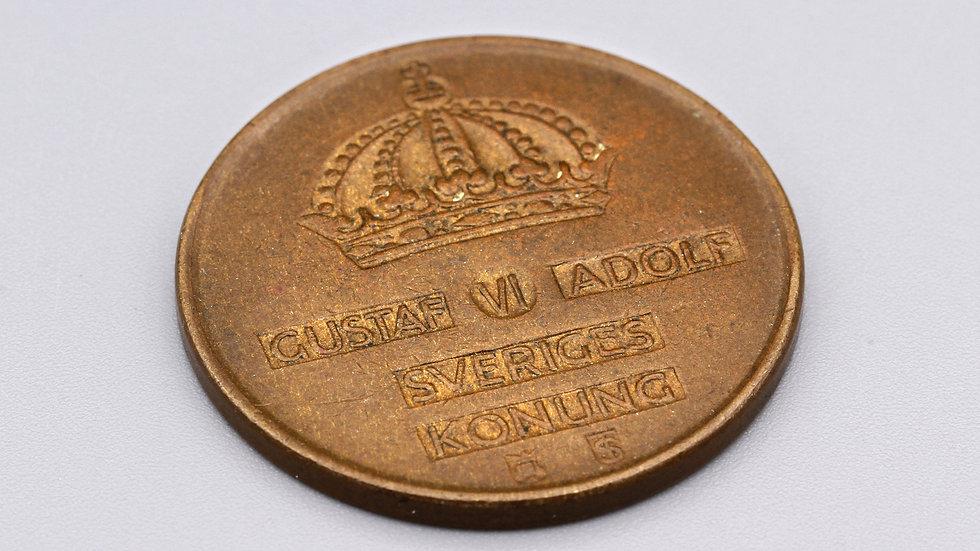 Vintage 1956 Sveriges 5 Ore Bronze Coin King Gustaf VI Adolf of Sweden