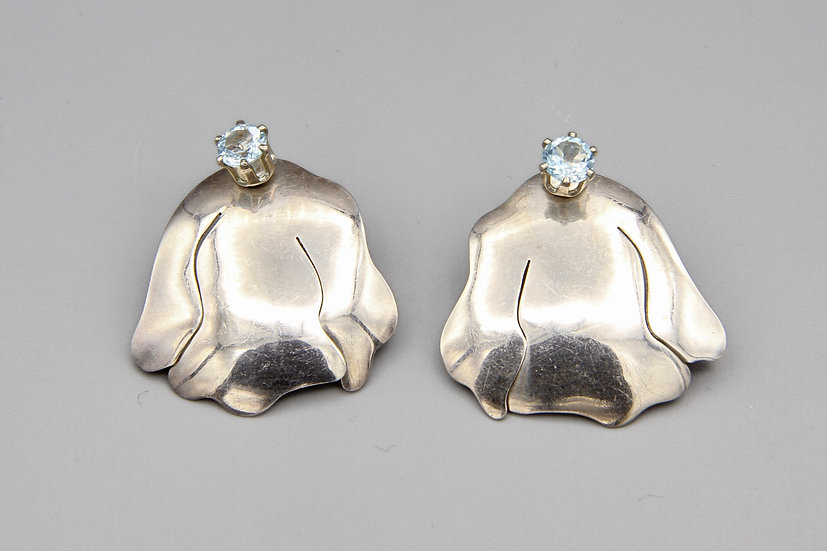 Baby Blue Topaz And Sterling Silver Earrings Freeform Modernist Studs