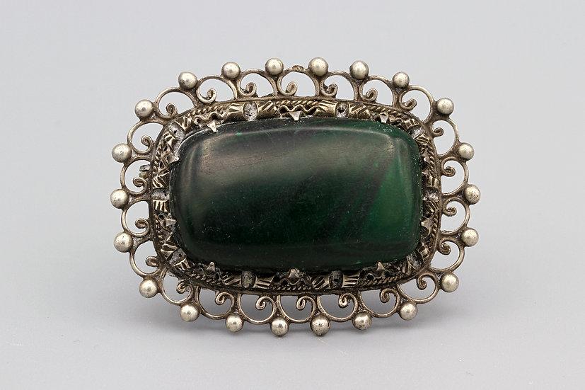 800 silver malachite brooch pin