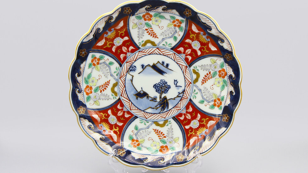 Blue And Red Porcelain Plate With Geometric Floral Design