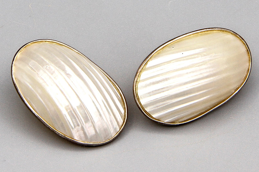 Mother Of Pearl And Sterling Stud Earrings