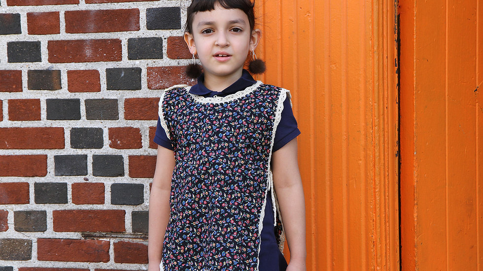 Handmade Girls Lightweight Poncho Vest With Floral Pattern Size 4 To 6
