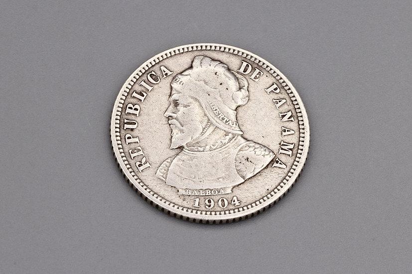 Antique 1904 Panama 10 Centesimos De Balboa Coin 900 Silver Grade