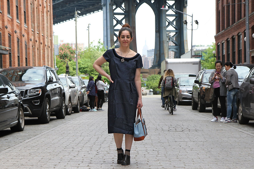 Union Label Navy Blue Fitted Dress