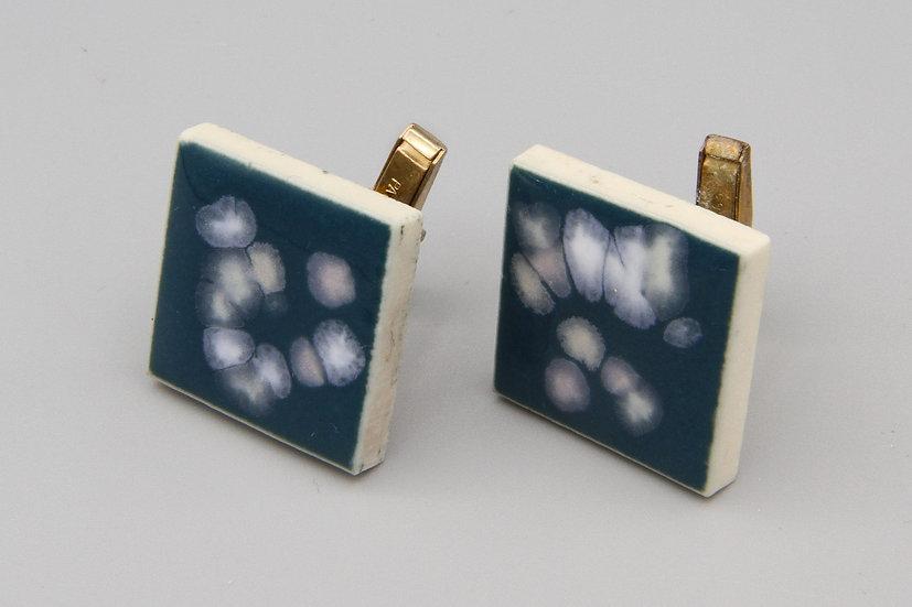 Blue With White Speckles Enamel Mens Cufflinks
