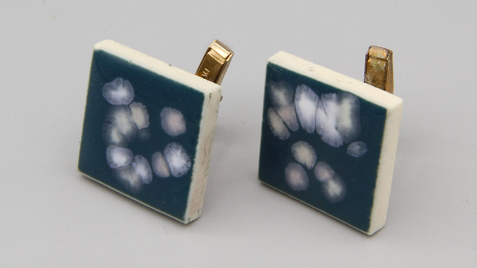 Blue With White Speckles Enamel Mens Cufflinks