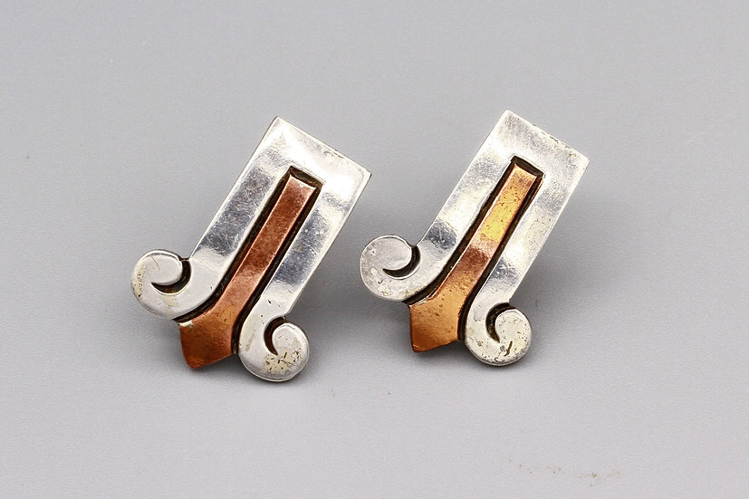 Vintage Victoria of Taxco Sterling and Copper Earrings