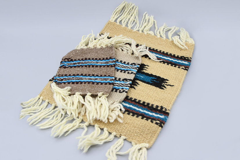 Southwestern Woven Wool Coasters And Placemat Set With Fringes and Stripes