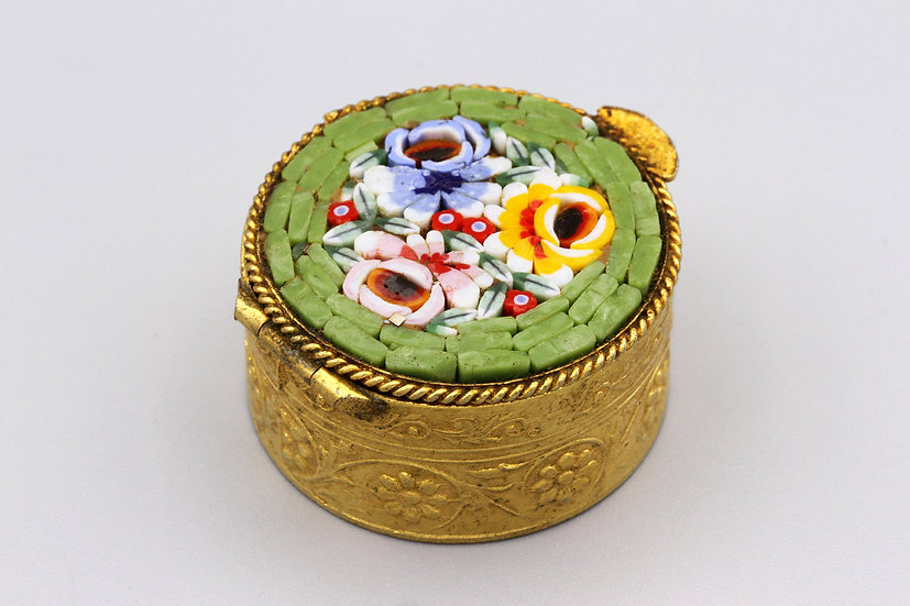 Small Italy Gold Metal And Colorful Mosaic Millefiori Pill Box Or Trinket Box
