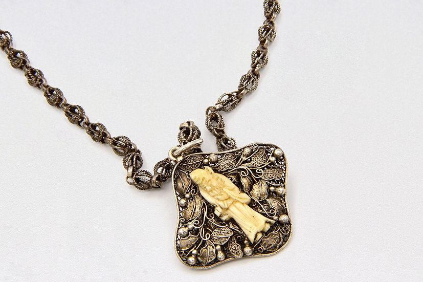 chinese export jewelry Silver And Bone