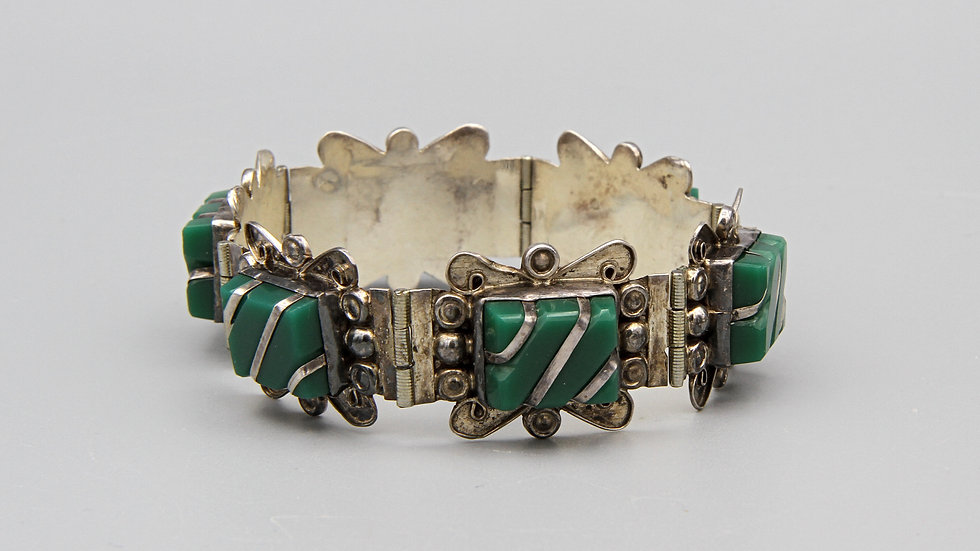 Mid Century Aztec Mayan Revival Panel Bracelet Sterling And Onyx