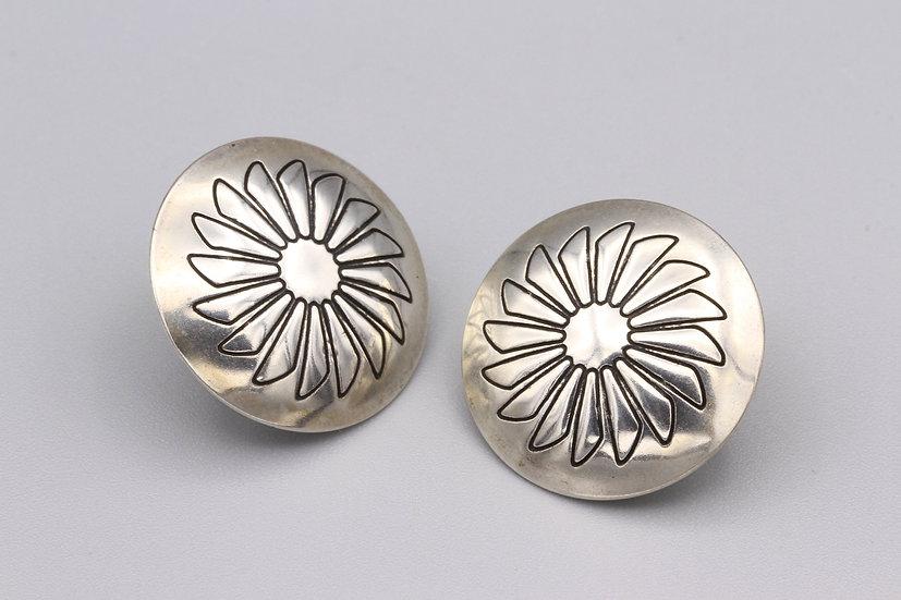 Concho Floral Stud Earrings