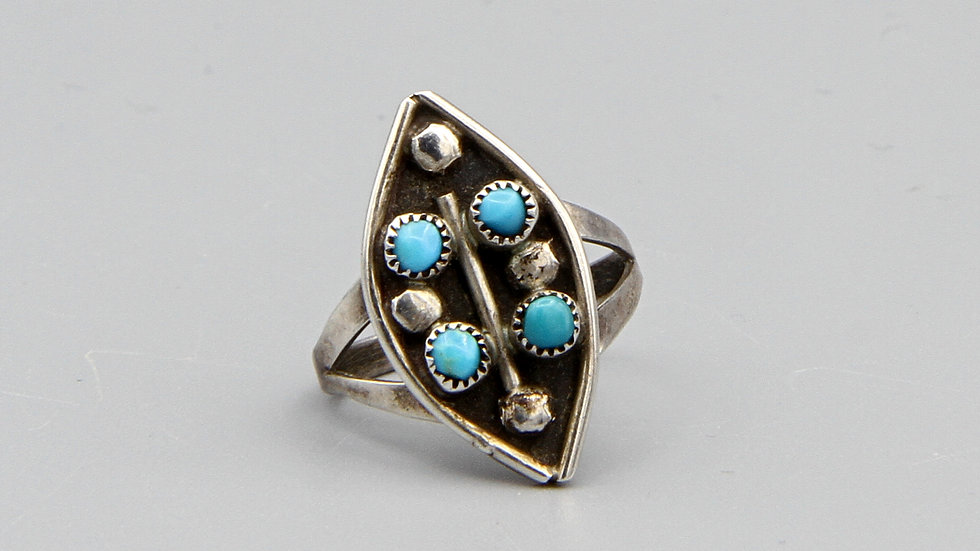 Small Multi Stone Turquoise And Sterling Silver Ring Size 5 Native American