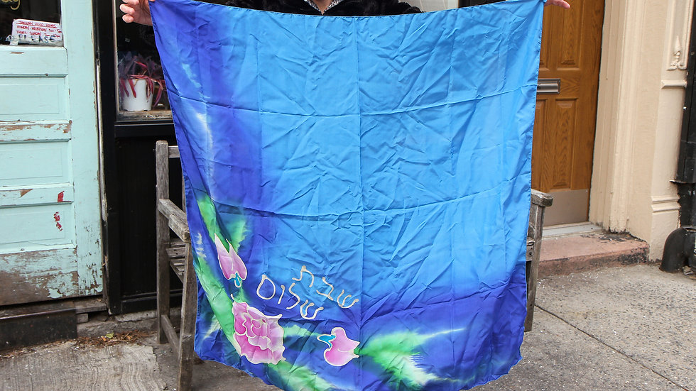 Hand Painted Blue Turquoise Pure Silk Scarf