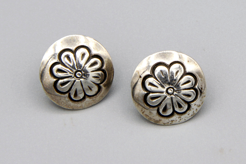 Small Navajo Native American Concho Button Stud Earrings Southwestern Jewelry