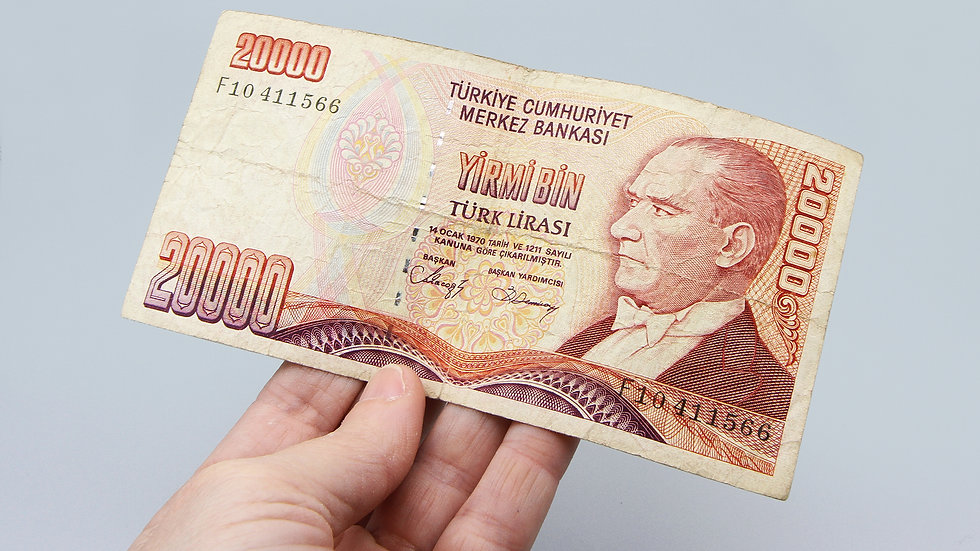 20000 Turk Lirasi Yirmi Bin Banknote Paper Money Cash Vintage 1970s Currency
