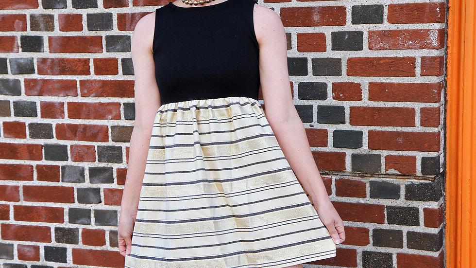 Striped Mini Dress Size XS Black Beige Sleeveless Dress