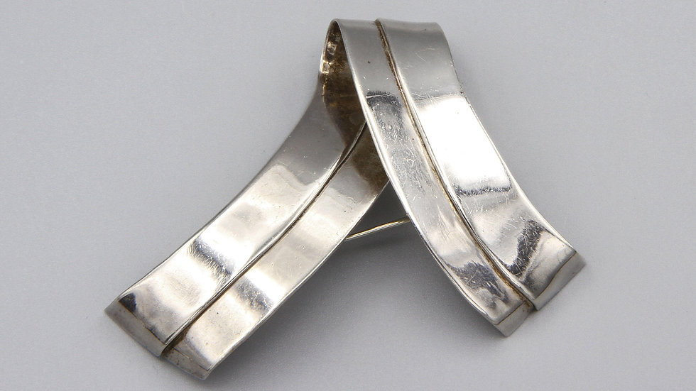 Taxco Mexico Sterling Brooch Pin Abstract Foldover Ribbon Modernist Jewelry