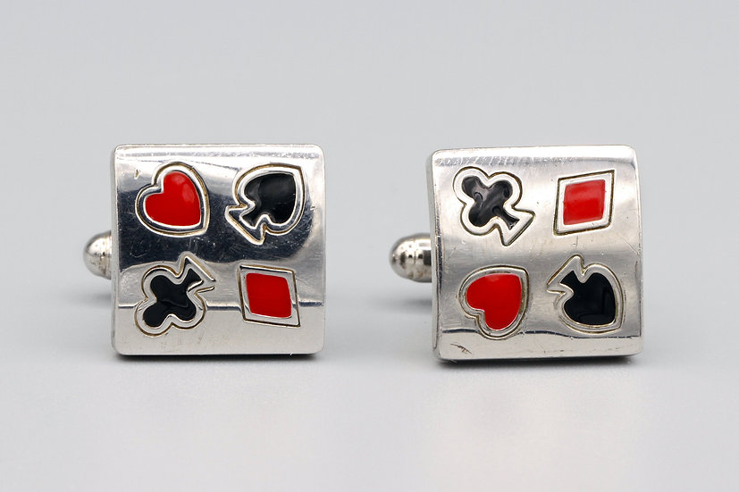 poker cards cufflinks