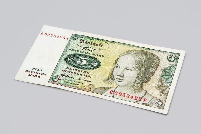 Vintage 1960 West Germany 5 Mark Banknote Cash