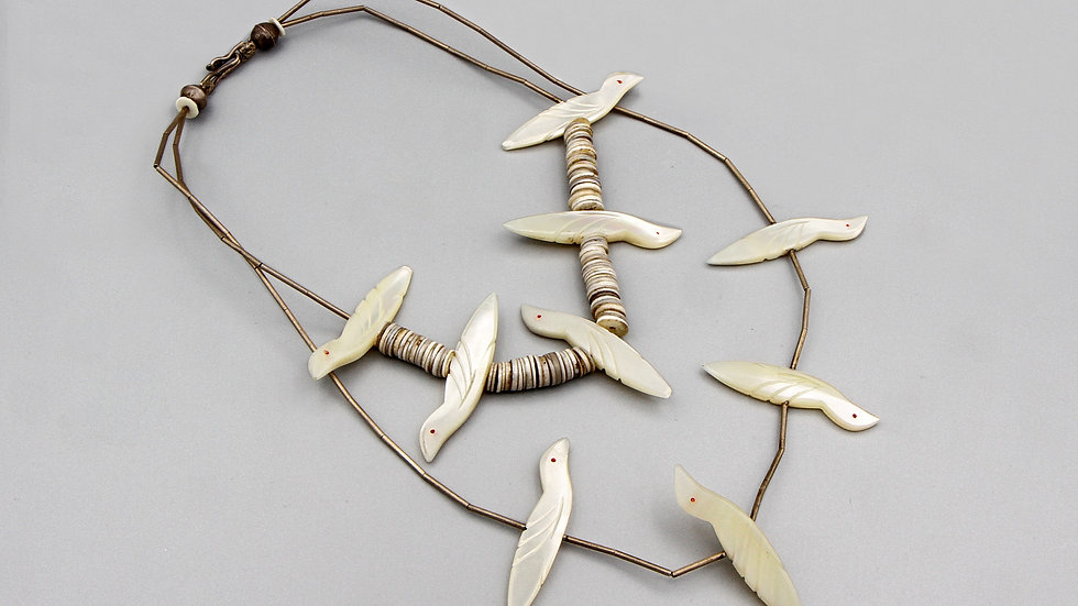 Liquid Silver And Shell Birds Beaded Necklace