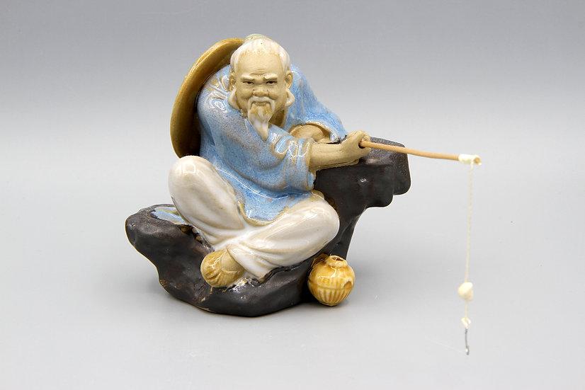 Old Shiwan Ceramic Figurine Fisherman Bearded Man Oriental Vintage Art