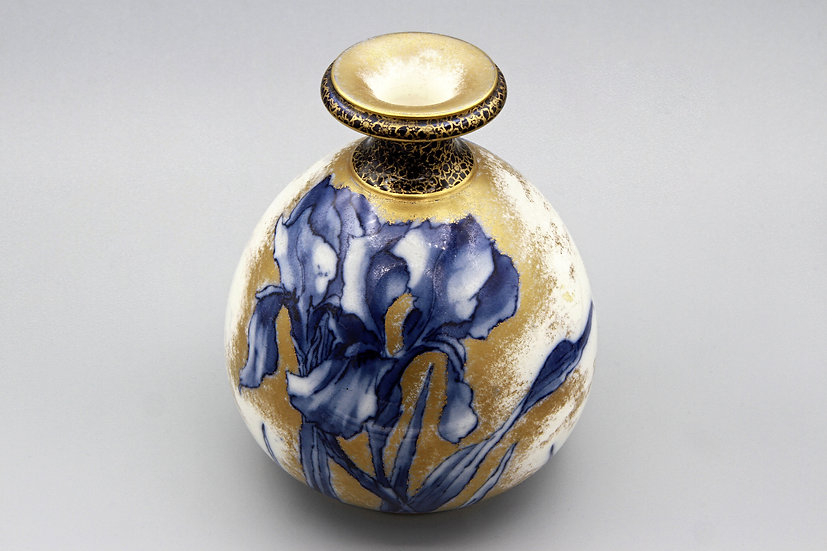 Antique Victorian Blue and Gold Vase