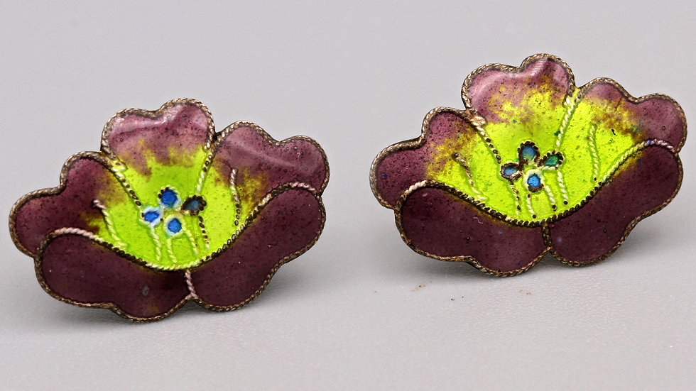 Dainty Pansy Flowers Stud Earrings Sterling And Guilloche Enamel