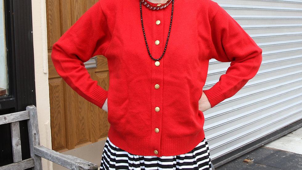 Red Virgin Wool cardigan