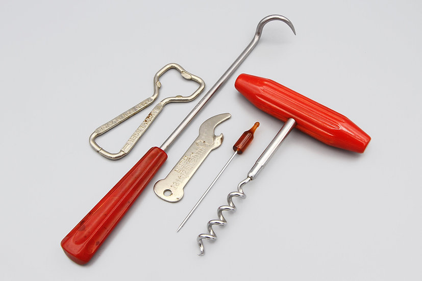 Retro Mid Century Barware Utensils Tools Bakelite and SIlver Metal