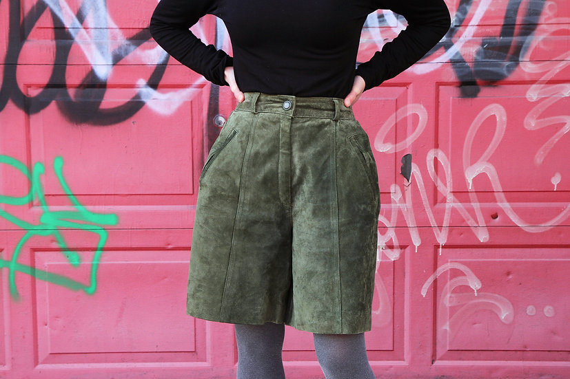 Real Leather Olive Green Short Pants