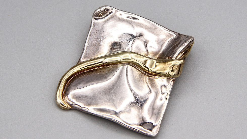 Vintage Signed Piece Bat Ami Israel Brutalist Brooch Pin Sterling And Gold Wash