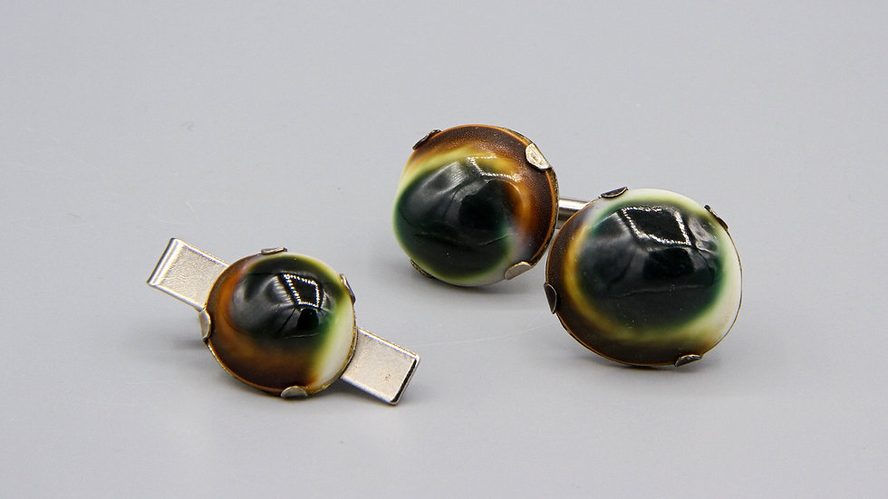 Operculum Shell Mens Cufflinks and Tie Pin