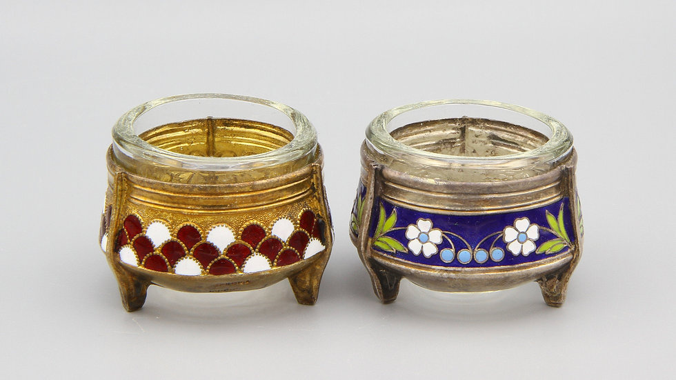 Cloisonne And Glass Salt Cellars