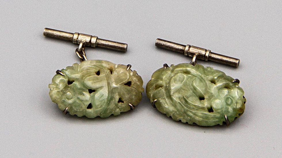 green jade cuff links