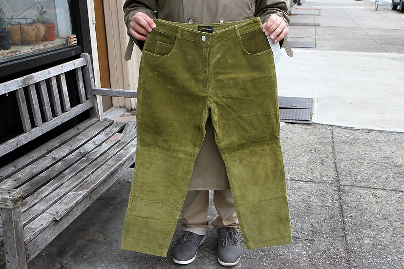 Pistachio Green Natural Suede Leather Pants For Women Size 14P In New Condition