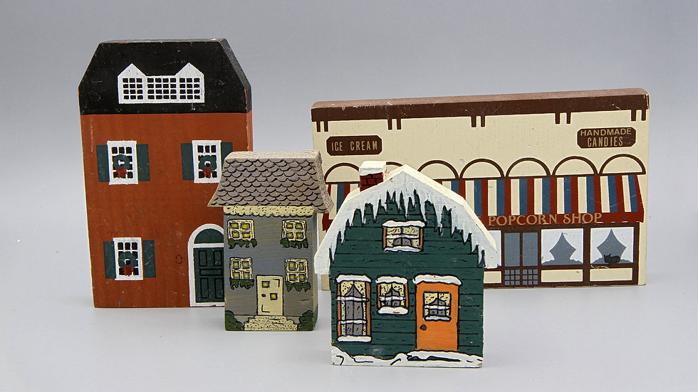 Vintage 1984 Cats Meow Village Set of 4 Small Architecture Models by Faline Jones