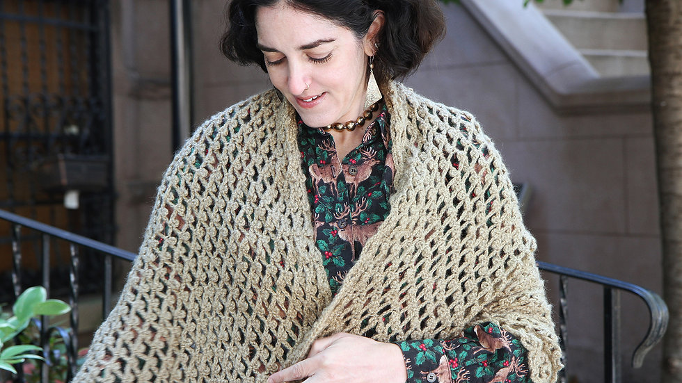 Handmade Knitted Wool Shawl Light Brown Color Triangle Shape Scarf