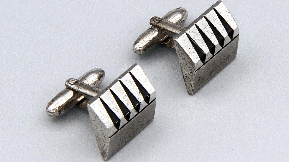 Vintage Mid Century Cufflinks Solid Sterling Modernist Speidel Jewelry