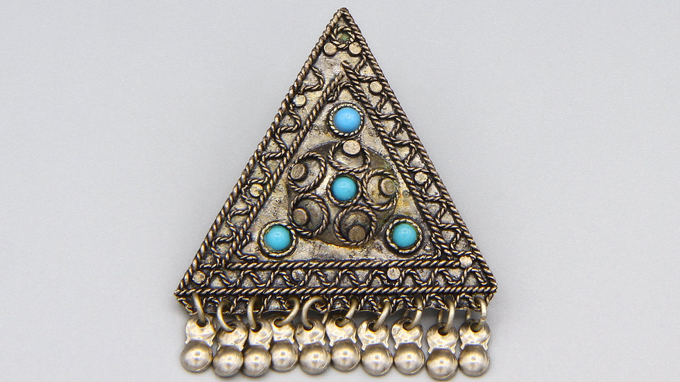 vintage 1930s sterling and turquoise brooch pin