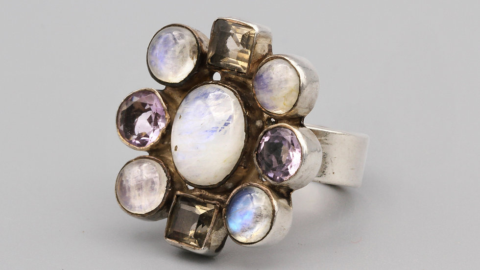 Colorful Cluster Gemstone Ring