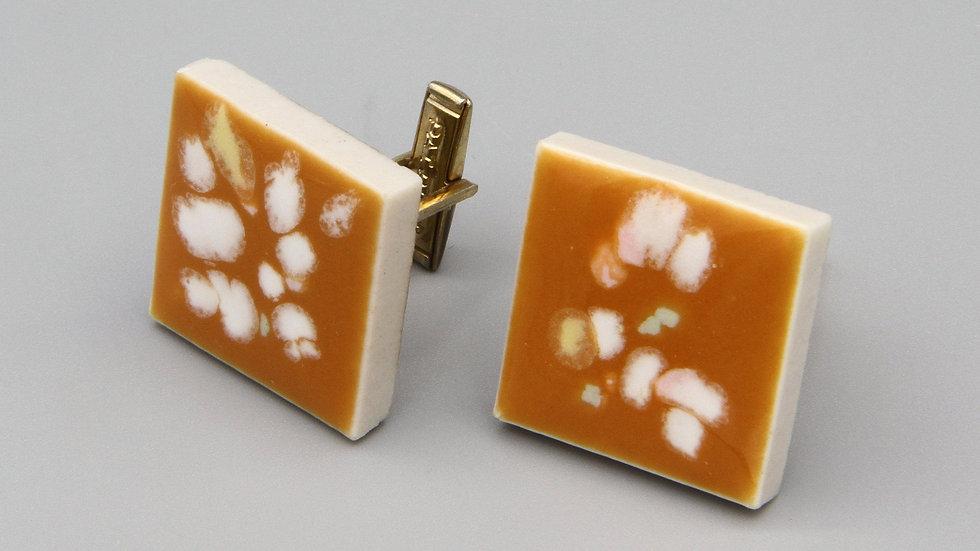 Orange With White Speckles Enamel Mens Cufflinks
