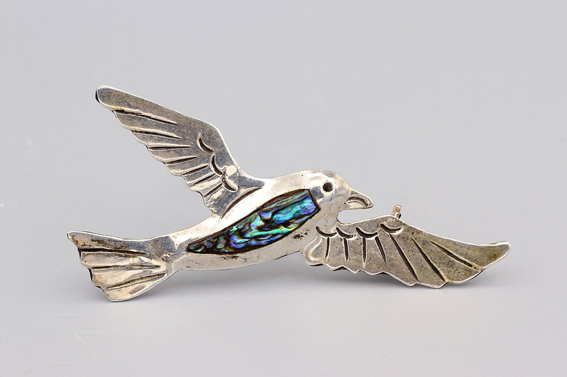 Taxco Mexico Seagull Bird Brooch Pin Sterling SIlver And Abalone Shell