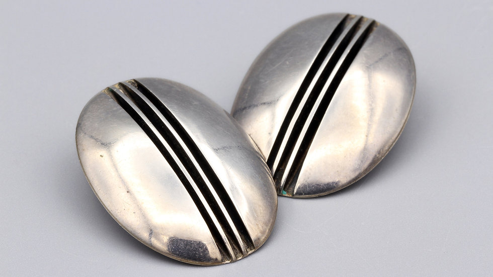 Yazzie Johnson Large Oval Sterling Earrings