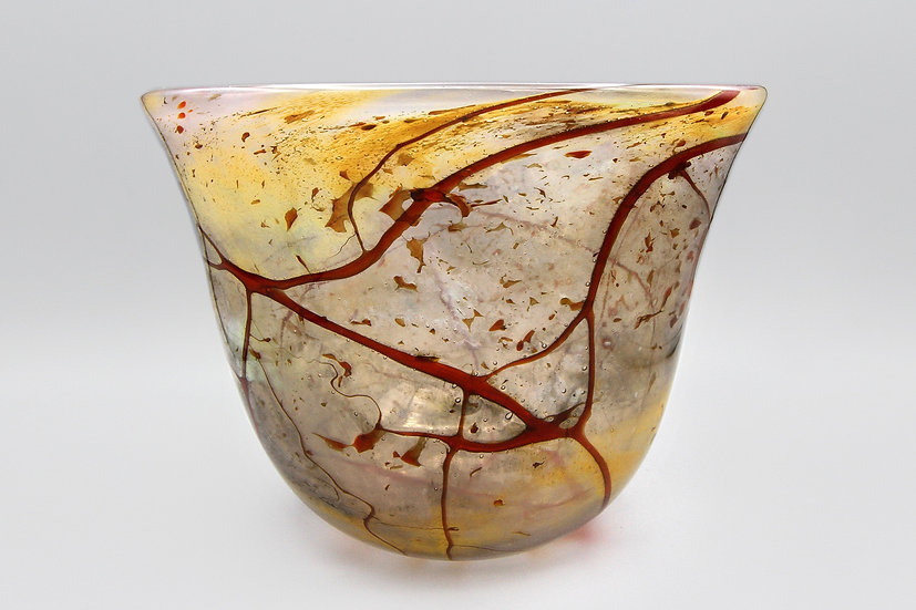 Deep Bowl Handmade Glass Art Signed Jim Connie Grant Celestial Arts