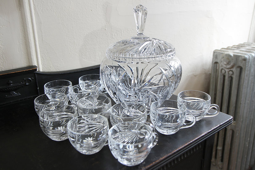Punch Bowl Set With 12 Cups