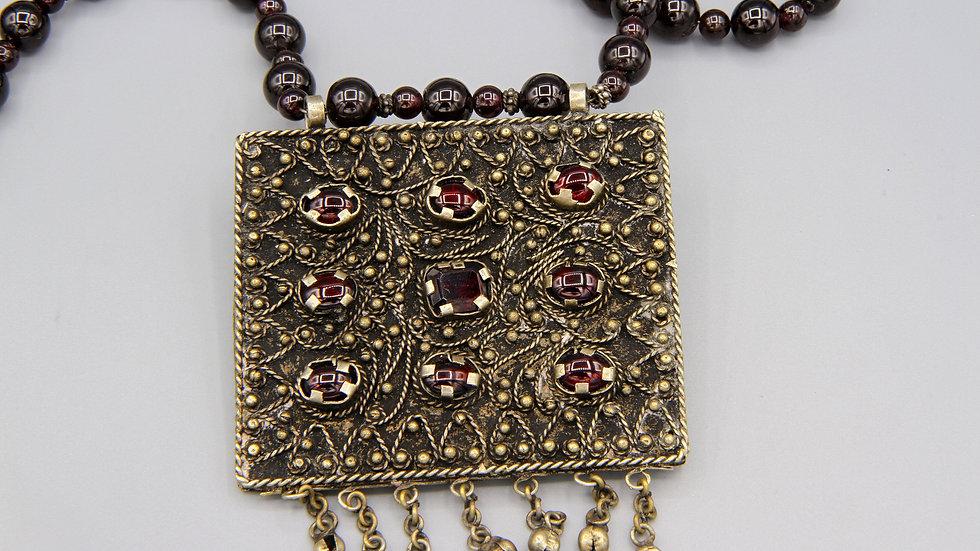 tribal pendant necklace multi stone