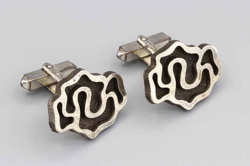 brutalist sterling cufflinks